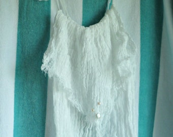 Freshwater Pearls Sundress Trio Beach Tank Dress Silk Ribbons Womens White Cotton