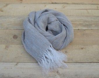 Gray linen scarf, scarf with knot fringe, linen scarves, scarf linen, linen shawl, pure linen scarf, women scarf, men scarf
