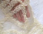 Ruched Antique Silk Applique Gorgeous Ribbonwork Large Fragment Late 1800's Salvaged from a Silk Wedding Gown Cream Ribbon Work