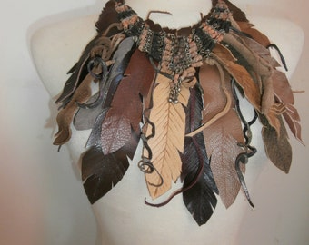 Tribal Feather Leather Necklace with beads