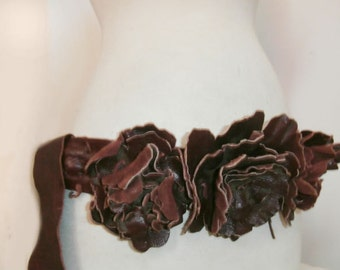 Gorgeous Burgandy Flower Belt