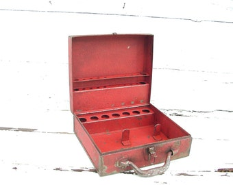 Vintage Craft Box Old Red Paint Metal  - Organize Crafts - Trays Dividers Toolbox Tool Thor Packy