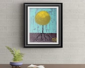 Yellow Lollipop Tree Signed Art Print of Signature Original By Rafi Perez