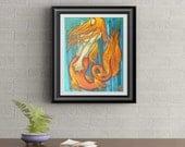 Fire Mermaid Signed Art Print of Signature Original By Rafi Perez
