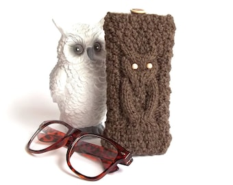 SALE - 50% OFF. Brown Owl Glasses Case. Eyeglasses Case. Sunglasses Holder. Sunglasses Case. Reading Glasses Case. Glasses Holder.