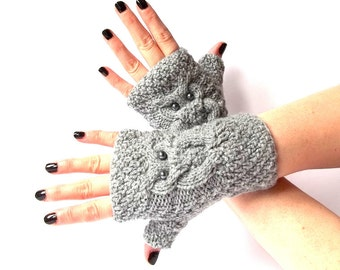 Knit Owl Gloves. Knit Fingerless Gloves. Knit Mittens. Gray Knitted Wrist Warmers. Hand Knit Gloves. Owl Mittens.