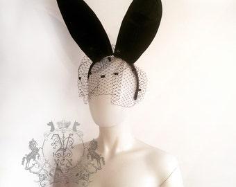 Latex Rubber Bunny Ears on a headband made By Vex Latex