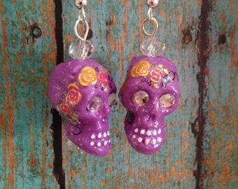 Sugar Skull Day of the Dead Dia de Los Muertos earrings