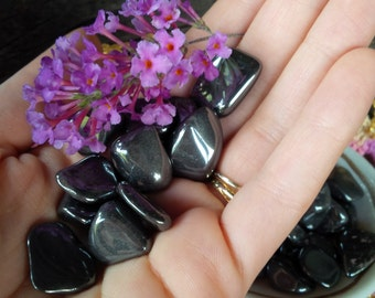 Set of 4 Hematite Tumbled Gemstone Crystal-Reiki charged, Grounding, Connection to Earth, Anti Anxiety, Panic, Root Chakra Healing