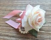 Wrist Corsage, Elegant Blush Pink Rose corsage