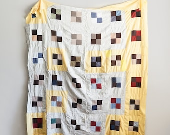 Vintage Handmade Quilt Top Unfinished Polyester Bedspread