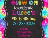 Glow party Birthday invitations- invites- printable or digital file- neon