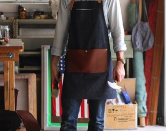 Selvedge Denim & Leather Apron  ***Customization ***