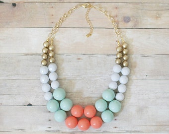 Coral and Mint Statement Necklace, Chunky Mint Necklace, Beaded Necklace, Coral Bib Necklace