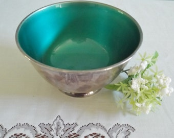 """Silver plate bowl with deep jade green enamel interior, made in USA by Towle Silversmiths, heavy industrial pedestal bowl, modern design 6"""""""