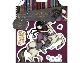 RUNAWAY - Simply Gorjuss - DOCRAFTs SANTORO Cling Stamp Set -  New !!  Little Girl on a HORSE -