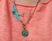 BOHO Blue Bird Necklace,Blue Bird in Flight Necklace,Patina Charm Necklae