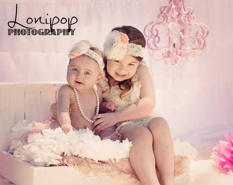 6 pcs Ivory Lace Petti Romper and Diaper cover set,Big Sister and Little sister set,baby girls petti Rompers,Photo Props,Baby petti Rompers