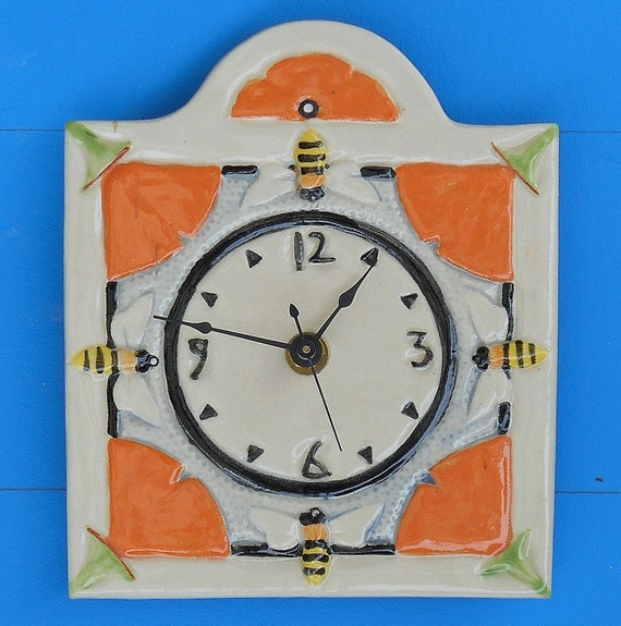 Arts and craft mission style clock bees and by cindysearles for Arts and crafts style wall clock