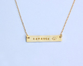 Gold or Silver Bar Necklace Namaste and Lotus