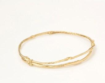 Gold Olive Branch Bracelet in 14K Gold