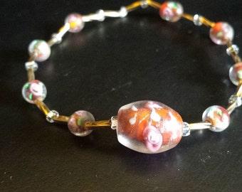 Rose Lampwork Beaded Bracelet
