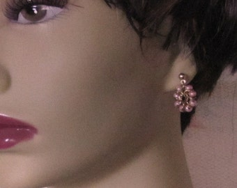Hand-made Jeweler's Brass Chainmaille Post Earrings With Pink Czech Glass Beads