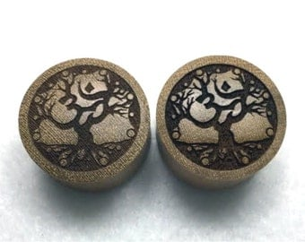 "Custom Handmade Organic ""Tree of Om"" Wood Plugs  -- You choose wood type/color and size 9/16"" - 30mm"