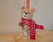 Hand Stitched Felt 3D Teddy Bear with Red Scarf Ornament
