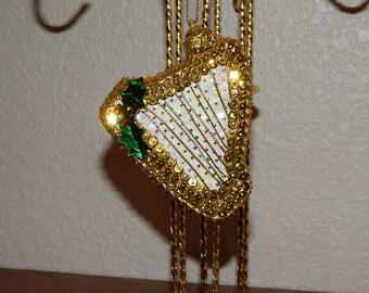 Hand Sequined Harp Ornament