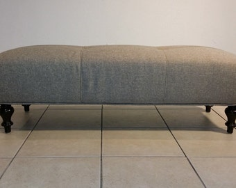 Linen Tufted Bench