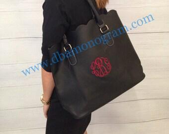 Monogrammed Scallop Trim Tote, Fall Handbag
