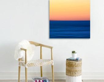 Large Canvas Art Abstract Beach Photograph Minimalist Photo Blue Ocean Waves Picture Sunset Seascape Print Bedroom Decor Living Room Artwork