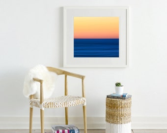 Abstract Art Print, Ocean Sunset Photo, Orange Blue Beach Decor, Large Wall Art Oversized Photography Red Yellow Navy Color Block Wall Decor