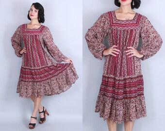1970s INDIAN COTTON Dress | Vintage 70s BOHEMIAN Babe Gauzy Floral Tent Dress