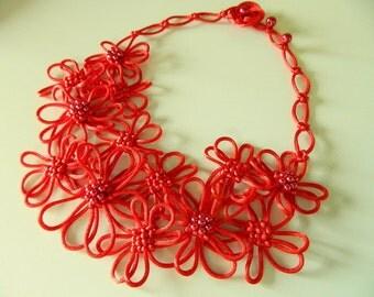 Red Statement Necklace Bib necklace Fiber necklace Cord necklace Japanese Chinese Knot Necklace Wife Gift flower necklace wedding Gift