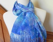 "Crepe silk scarf with fringe hand dyed shades of purple and turquoise blue, 10"" x 58"" plus fringe, ready to ship"