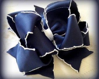 Navy and White Hair Bow......White Scalloped Edge Navy Bow....Navy Hair Bow.... Girls Hair Bow