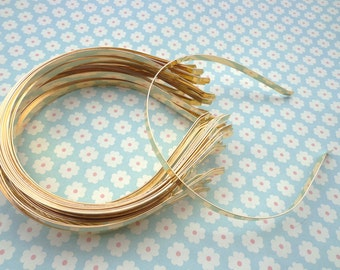Gold headbands--20 pcs 7 mm gold metal headbands