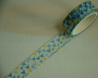 1 Roll of Japanese Washi Masking Tape- Yellow and Blue Butterfly