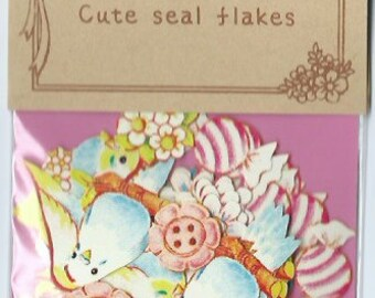 A Pack of 70 pcs 8 Designs Stickers Seal: Love Birds and flower