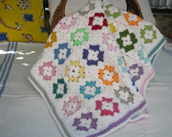 Crochet baby blanket afghan granny square - colorful, bright and soft