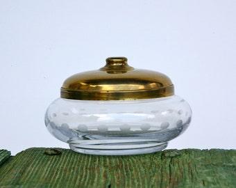 Italian glass bowl with brass lid
