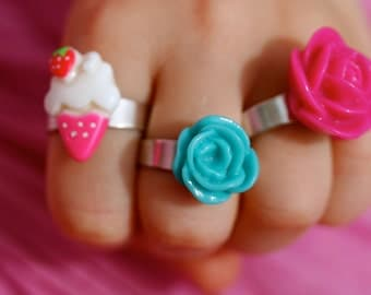 Pink Ice Cream Cone Ring with strawberry on top