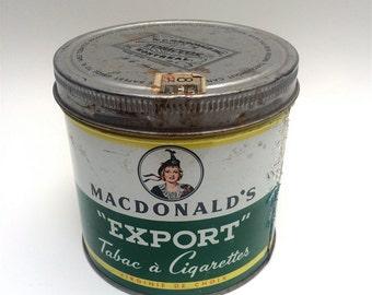 MacDonald's Export Cigarette Tobacco tin, Montreal