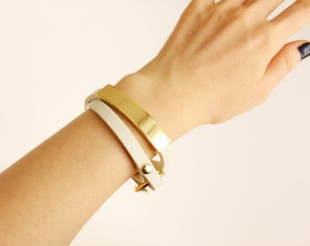 115 CREAM WHITE -Double wrap leather bracelet