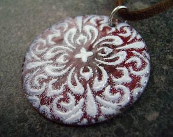 RED MANDALA - Mandala Pendant, Enamel Necklace, Enamel Jewelry, Necklace, Spiritual Jewelry, Kaleidoscope, Glass Pendant, Statement Jewelry