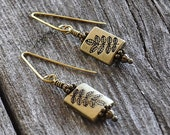 Leaves Brass Drop Fall Earrings with Hand Hammered Ear Wires