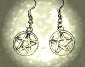 Antiqued Silver Pentacle Earrings
