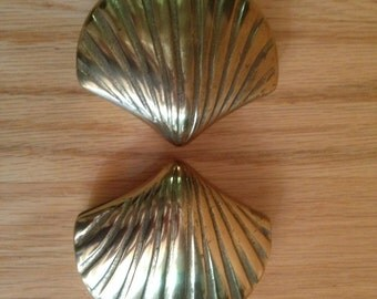 pair of vintage brass clam shell boxes